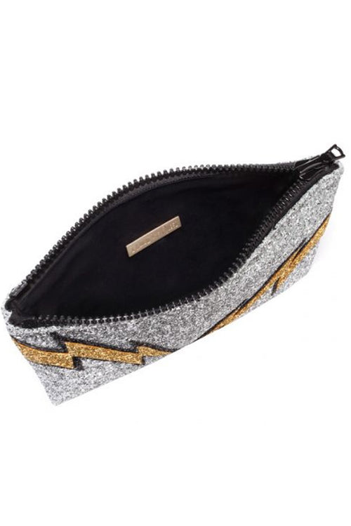 Lightening Bolt Glitter Clutch Bag - I KNOW THE QUEEN