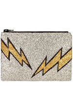Lightening Bolt Glitter Clutch Bag