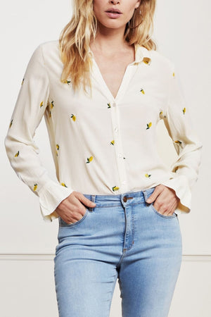 Fabienne Chapot Lily Frill Embro Lime Lights White Embroidered Blouse at The Bias Cut