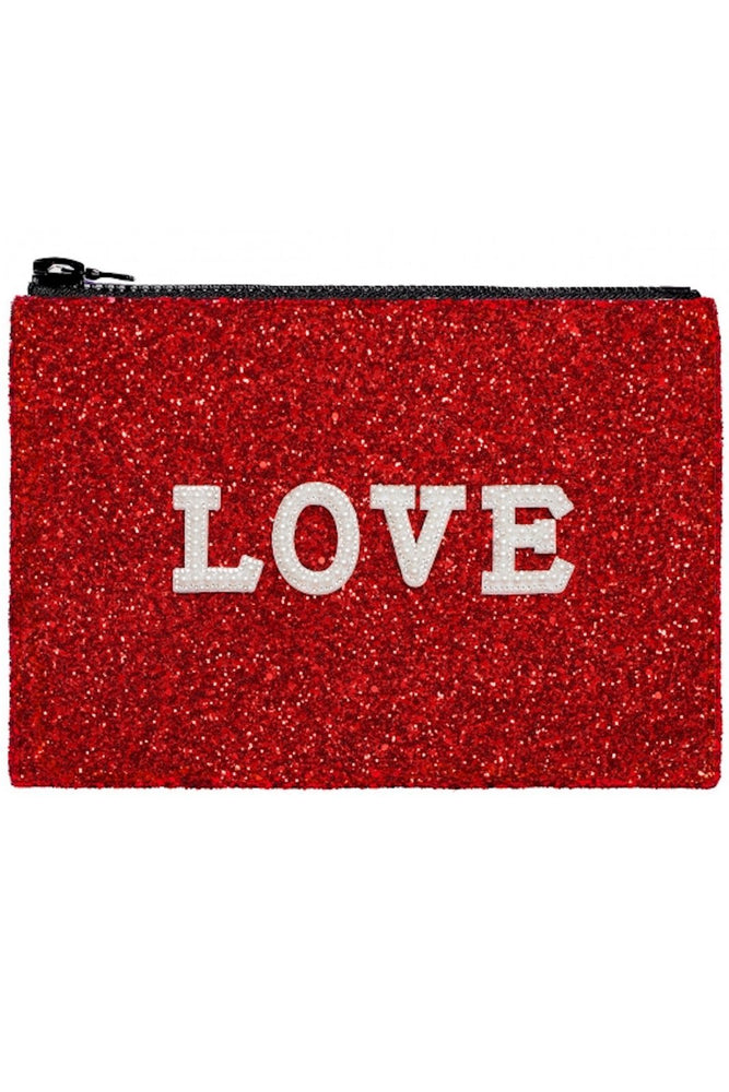 Love Red Glitter Clutch Bag