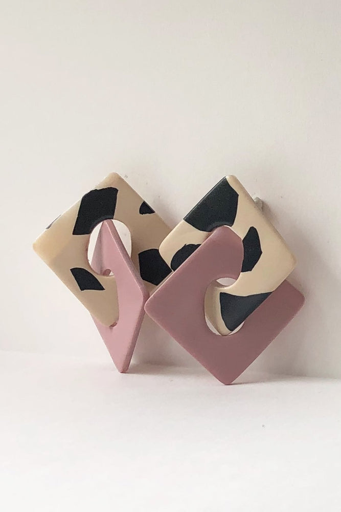 Luna Pink & Leo Earrings - Hattie Buzzard at The Bias Cut