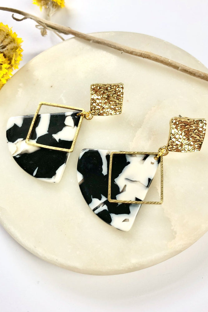 Marble & Hammered Brass Studs - ALOË at The Bias Cut