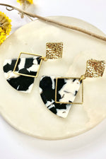 Marble & Hammered Brass Studs