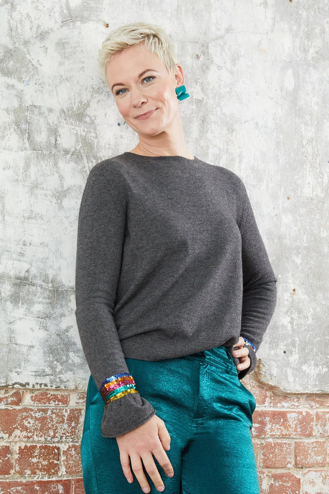 Marine Sequin Ruffle Jumper - WYSE at The Bias Cut