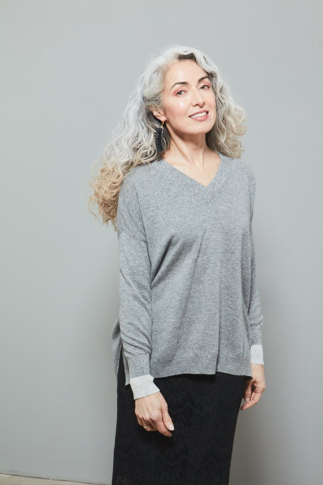 Mercury Lurex Cashmere Jumper - Jacynth London at The Bias Cut