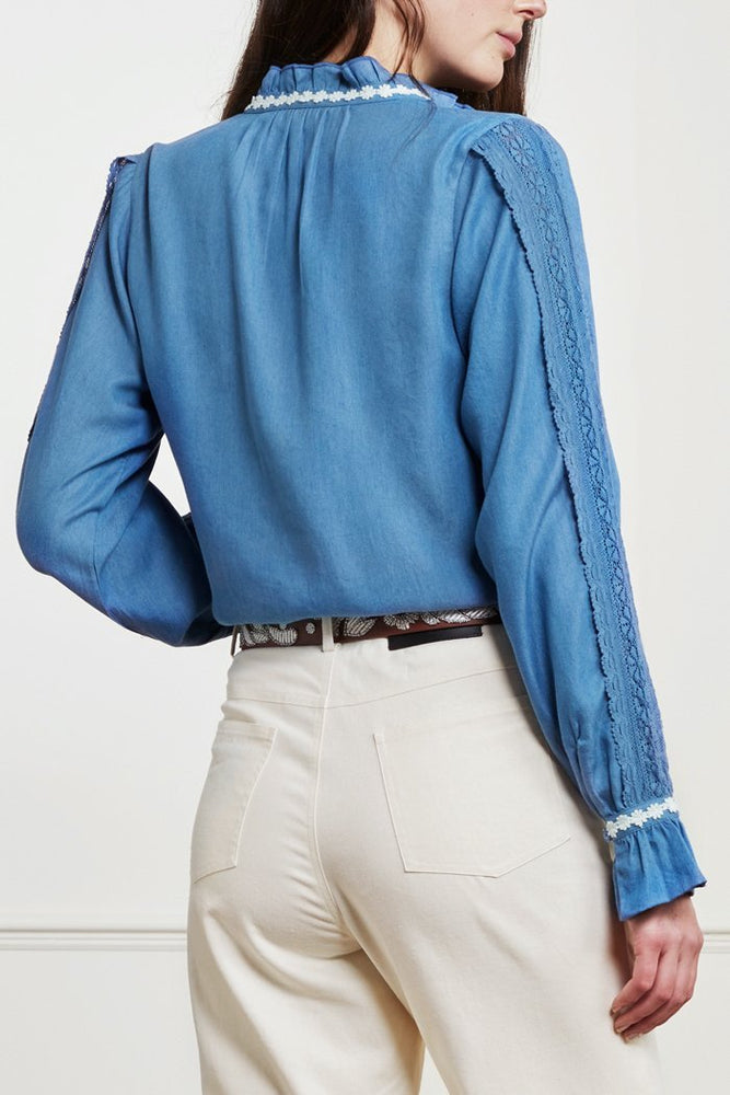 Fabienne Chapot Mimi Blue Denim Blouse with Floral Details at The Bias Cut