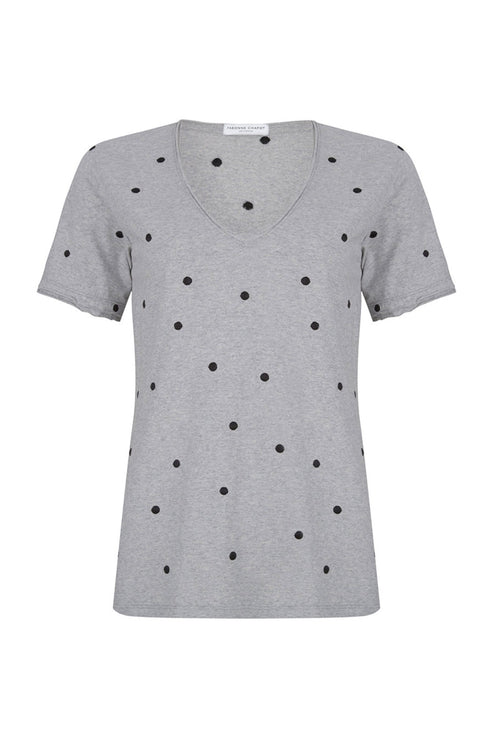 Mimi Grey Polka Dot Embroidered T-Shirt - the-Bias-Cut.com
