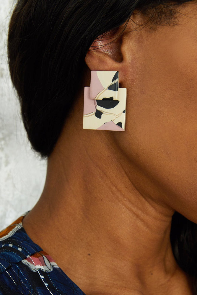 Load image into Gallery viewer, Mini Lou In Pink & Leo Earrings - Hattie Buzzard at The Bias Cut