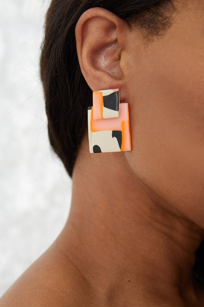 Mini Lou Orange & Leo Earrings - Hattie Buzzard at The Bias Cut