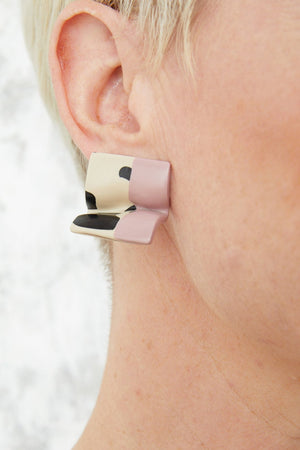 Load image into Gallery viewer, Mini Selina Pink & Leo Earrings - Hattie Buzzard at The Bias Cut