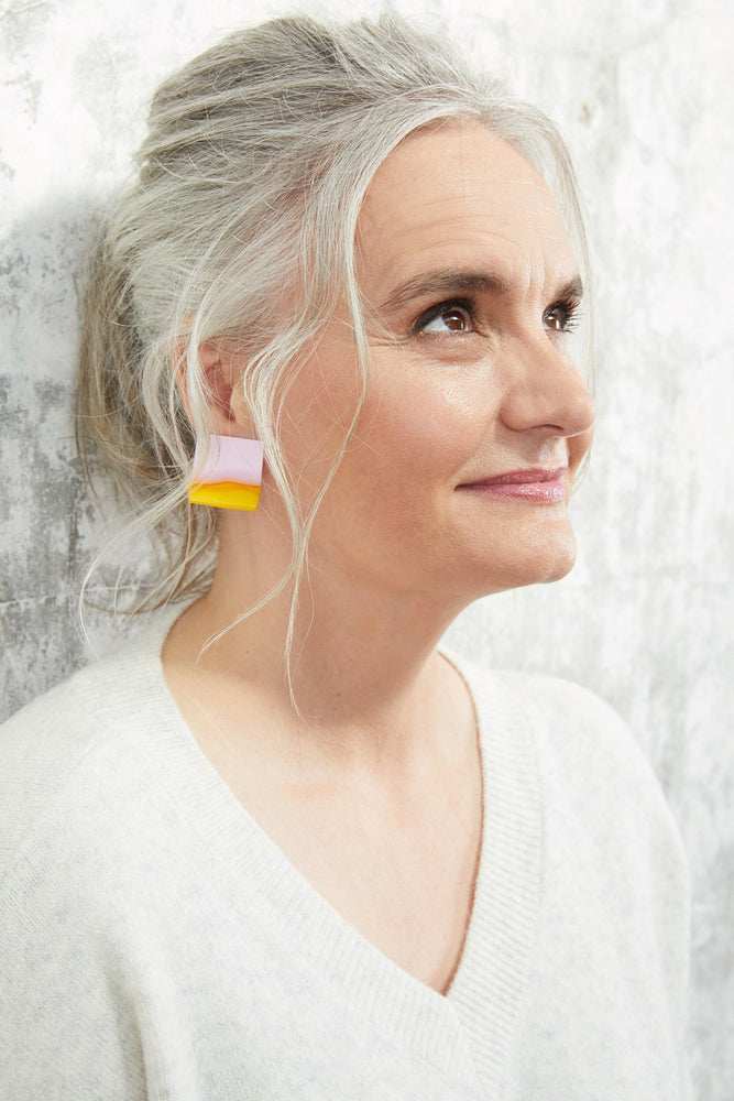 Load image into Gallery viewer, Mini Selina Pink & Yellow Earrings - Hattie Buzzard at The Bias Cut