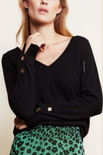 Molly V-Neck Star Cuff Pullover - Size XL
