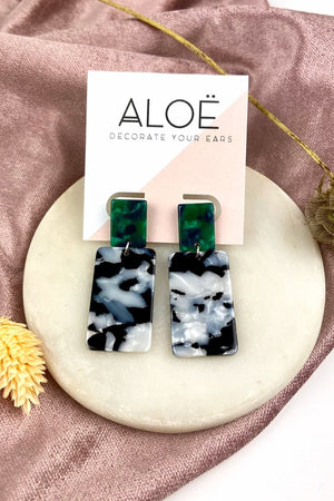 Load image into Gallery viewer, Mono Marble Green Dangle Studs - ALOË at The Bias Cut
