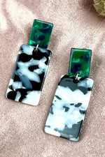 Mono Marble Green Dangle Studs