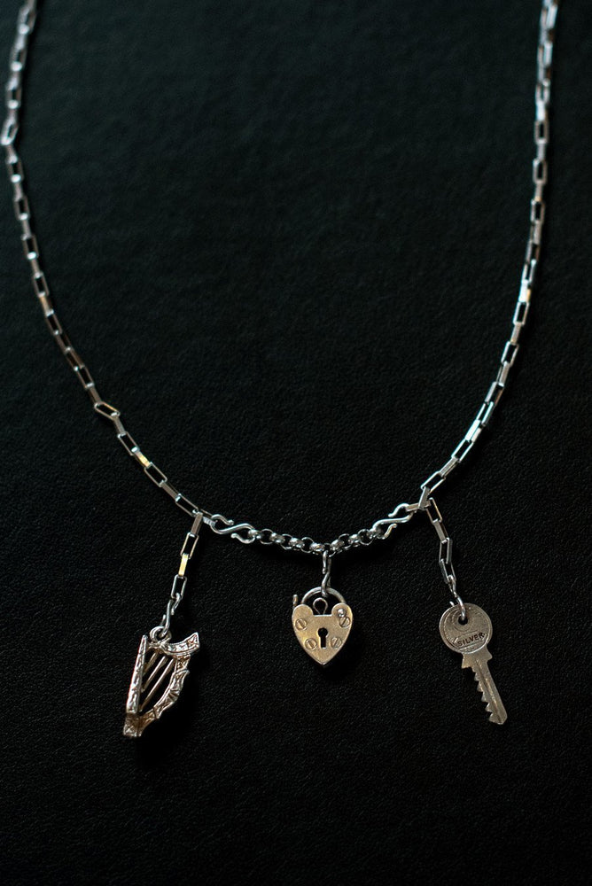 Load image into Gallery viewer, Music Is The Key To My Heart Sterling Silver One-Of-A-Kind Necklace - Hooked at The Bias Cut
