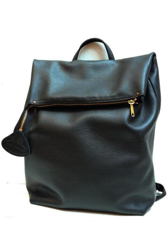 Nancy Black Italian Leather Rucksack