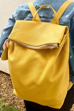 Nancy Yellow Leather Rucksack