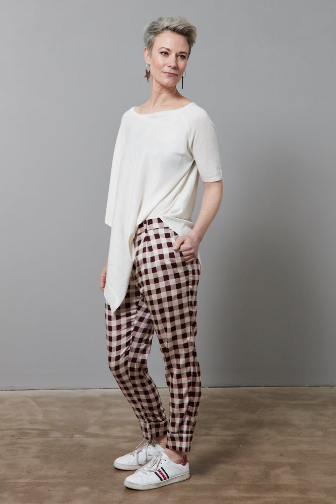 Narethe Creamy Red Check Silk Trousers - Baum Und Pferdgarten at The Bias Cut