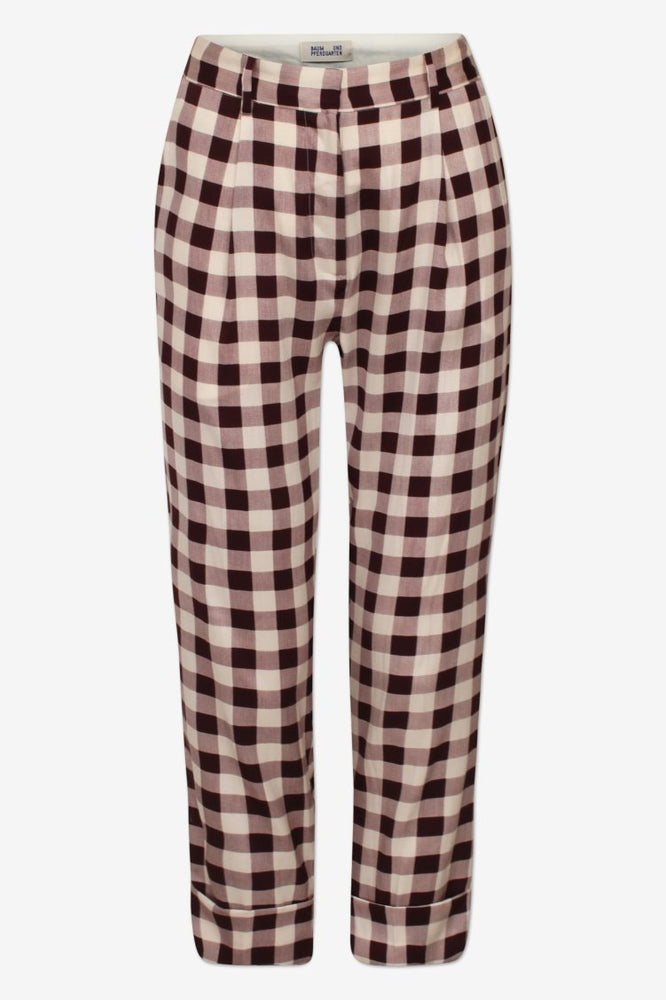 Narethe Creamy Red Check Silk Trousers