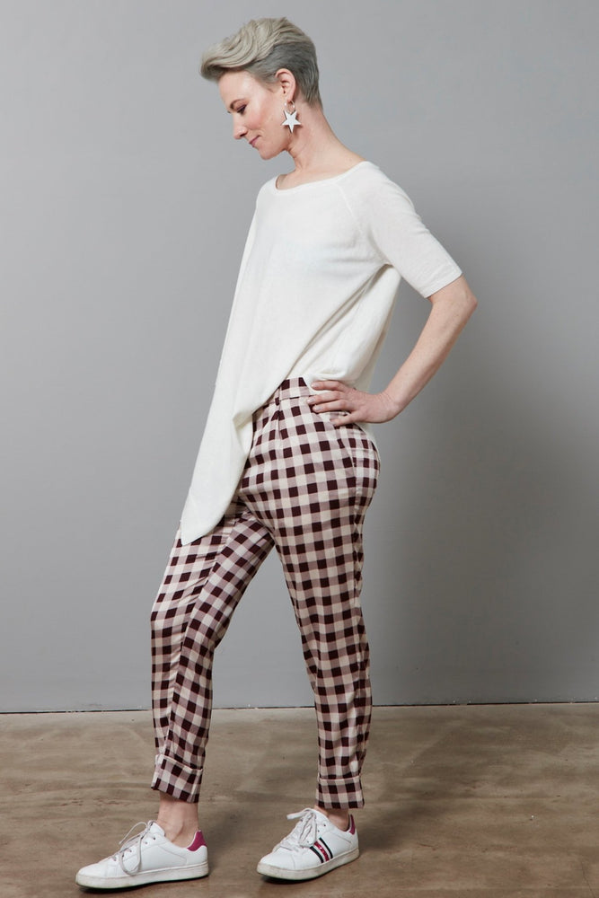 Load image into Gallery viewer, Narethe Creamy Red Check Silk Trousers - Baum Und Pferdgarten at The Bias Cut