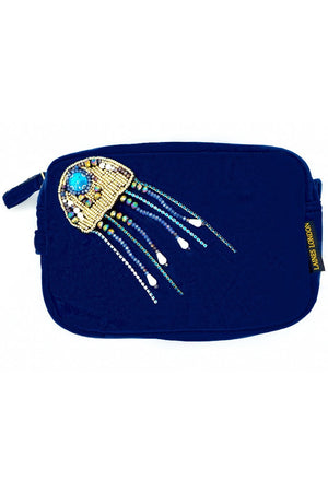 Navy Blue Velvet Bag With Crystal Jellyfish Brooch - Laines London