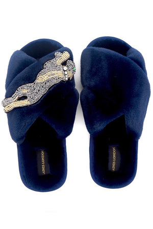 Navy Fluffy Slippers Platinum Panther Brooch - Laines London