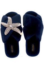 Navy Fluffy Slippers Silver & Pearl Starfish Brooch
