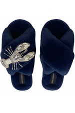 Navy Fluffy Slippers With Pearl & Crystal Lobster
