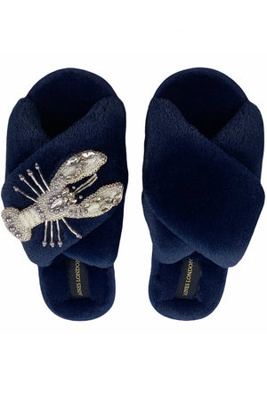 Load image into Gallery viewer, Navy Fluffy Slippers With Pearl & Crystal Lobster - Laines London at The Bias Cut