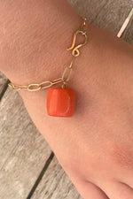 One Charm Chunky Bracelet Red Coral Drum