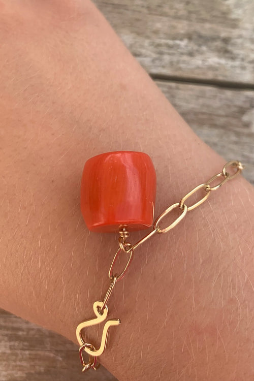 One Charm Chunky Bracelet Red Coral Drum - Gem & Tonic
