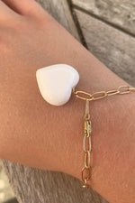 One Charm Chunky Bracelet White Coral Heart