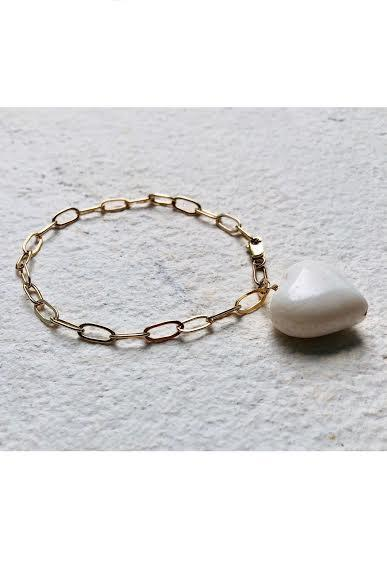 One Charm Chunky Bracelet White Coral Heart - Gem & Tonic at The Bias Cut