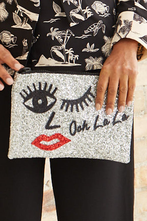 Ooh La La Glitter Clutch Bag - I KNOW THE QUEEN