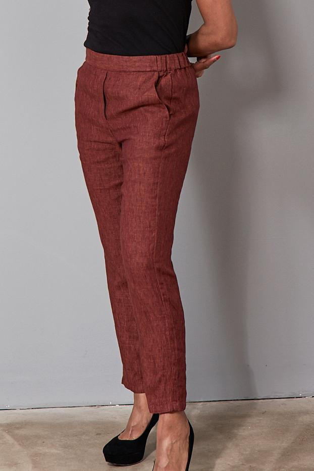 Pacifico Slim Fit Linen Trousers - Size XL - Diega at The Bias Cut