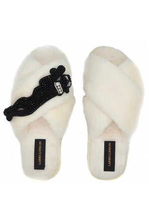Panther Cream Fluffy Slippers - Laines London