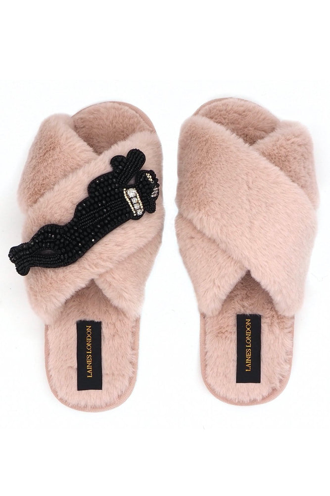 Panther Pink Fluffy Slippers