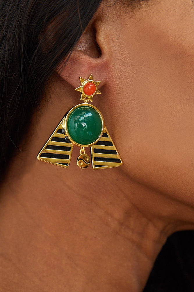 Load image into Gallery viewer, Pharaoh Statement Earrings - Milk Tooth at The Bias Cut