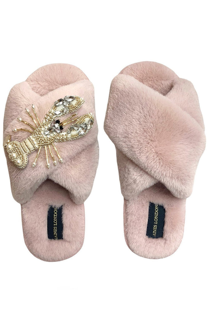 Pink Fluffy Slippers With Pearl & Gold Lobster