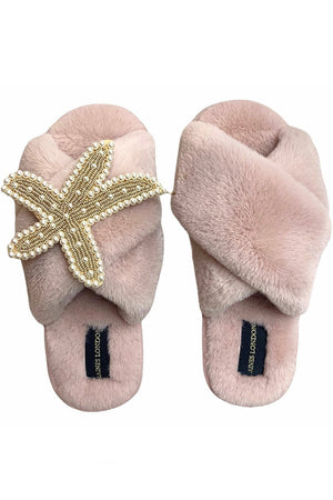 Pink Fluffy Slippers With Pearl & Gold Starfish - Laines London at The Bias Cut