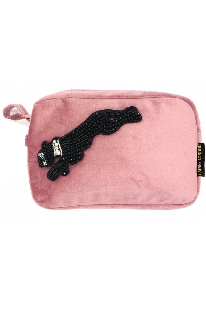 Pink Velvet Bag With Jet Black Panther Brooch