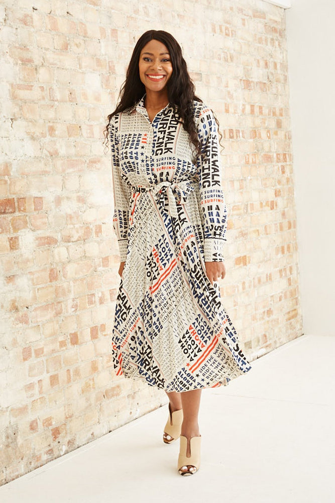 Pleated Midi Length Dress With Belt - Scotch & Soda
