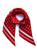 Polka Dot Silk Neck Scarf Flame Scarlet