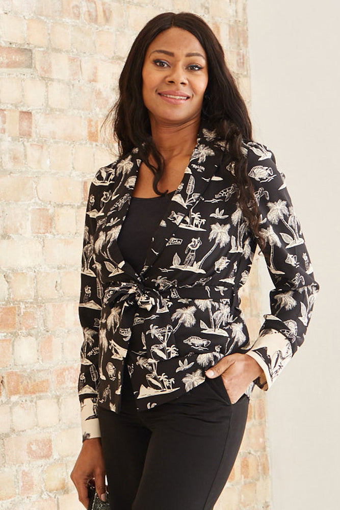 Printed Pyjama Blazer With Belt