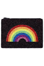 Rainbow Black Glitter Clutch Bag - I KNOW THE QUEEN at The Bias Cut