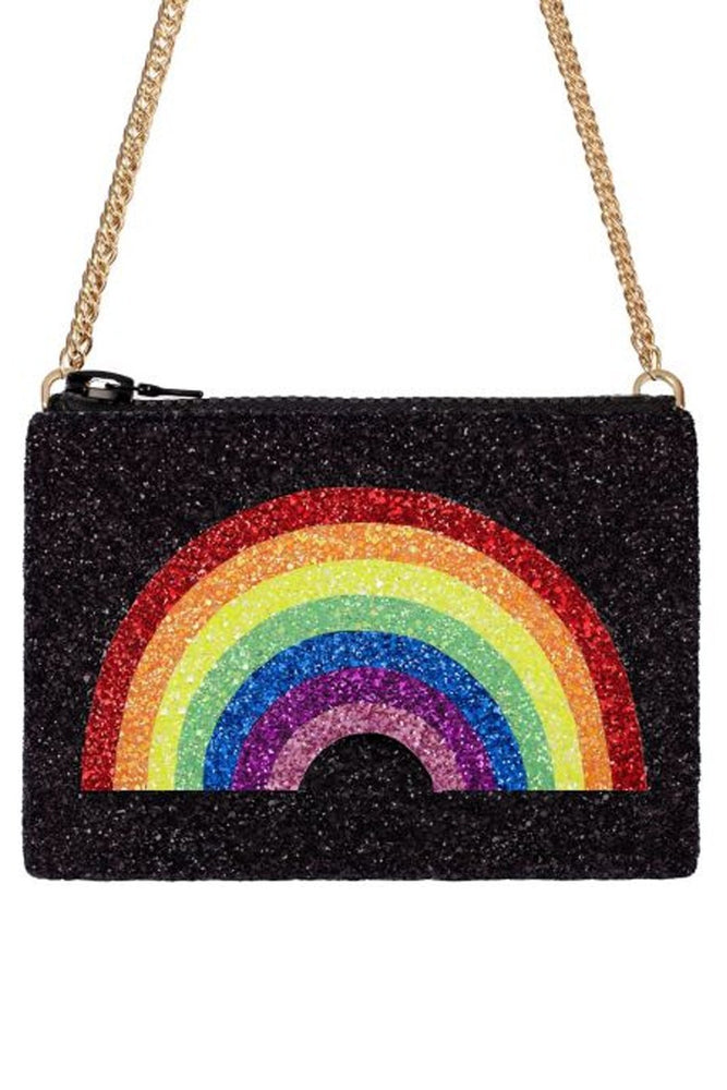 Load image into Gallery viewer, Rainbow Glitter Cross-Body Bag - I KNOW THE QUEEN at The Bias Cut