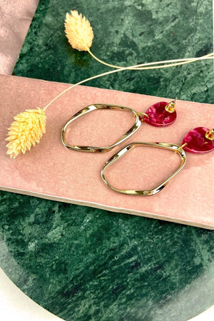 Red Teardrop Irregular Gold Hoops - ALOË at The Bias Cut
