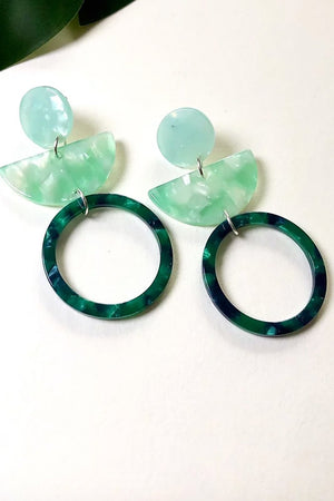 Retro Triple Green Dangle Studs - ALOË at The Bias Cut