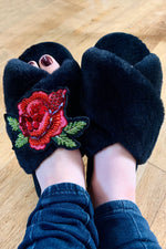 Rose Black Fluffy Slippers - Laines London