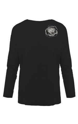 Rose Embroidered Dropped Shoulder T-Shirt Black - Ingmarson at The Bias Cut